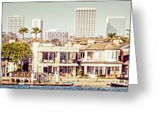Newport Beach Skyline Vintage Panorama Greeting Card
