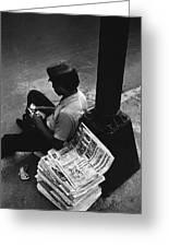 Newspaper Boy Mexico City D.f. Mexico 1970 Greeting Card