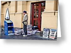 Newspaper Seller Greeting Card