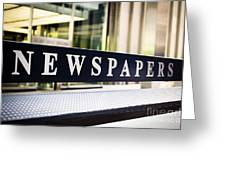 Newspapers Stand Sign In Chicago Greeting Card by Paul Velgos