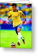 Neymar Soccer Football Art Portrait Painting Greeting Card