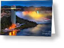 Niagara American Falls At Night Greeting Card