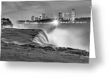 Niagara Falls Black And White Starbursts Greeting Card