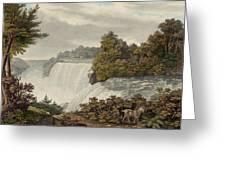Niagara Falls Circa 1829 Greeting Card by Aged Pixel