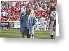 Nick Saban Head Football Coach Of Alabama Greeting Card by Mountain Dreams