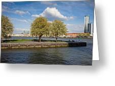 Nieuwe Maas River Waterfront In Rotterdam Greeting Card