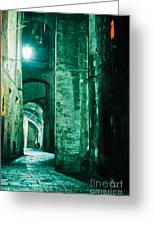 Night Alley In Old City Of Siena Tuscany Italy Greeting Card