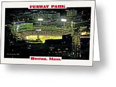 Night Baseball Fenway Park Boston Massachusetts Greeting Card