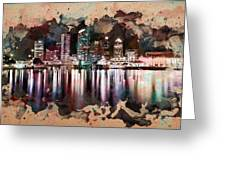 Night City Reflections Watercolor Painting Greeting Card