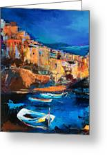 Night Colors Over Riomaggiore - Cinque Terre Greeting Card by Elise Palmigiani