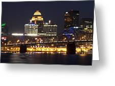 Night Descends Over Louisville City Greeting Card