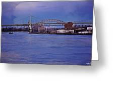 Night Descends Over The Triboro Bridge - Nyc Greeting Card