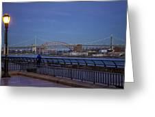 Night Falling Over The East River - Manhattan Greeting Card