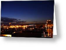 Night Falls At Old Port Of Quebec Greeting Card