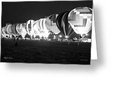 Night Glow Hot Air Balloons Bw Greeting Card