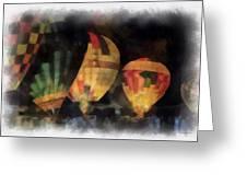 Night Glowing Hot Air Balloons Photo Art Greeting Card