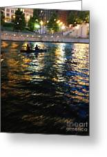 Night Kayak Ride Greeting Card by Margie Hurwich