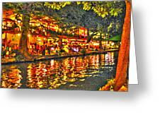 Night Life By The River Walk Greeting Card