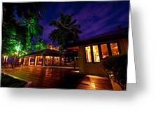 Night Lights At The Resort Greeting Card by Jenny Rainbow