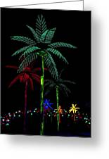 Night Lights Electric Palm Trees Greeting Card
