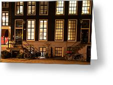 Night Lights In Amsterdam. Holland Greeting Card