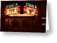 Night Lights Ithaca Theater Greeting Card