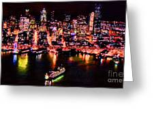 Night Lite Seattle Greeting Card