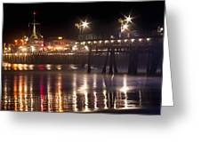 Night On Santa Monica Beach Pier With Bright Colorful Lights Reflecting On The Ocean And Sand Fine A Greeting Card