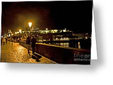 Night On The Charles Bridge Greeting Card