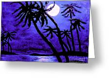 Night On The Islands Painterly Brushstrokes Greeting Card