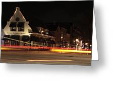 Night Scene At The Intersection Of Main Street And Schutstraat In Hoogeveen Greeting Card