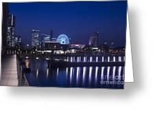 Night Scene In Blue Of Minatomirai In Yokohama Greeting Card