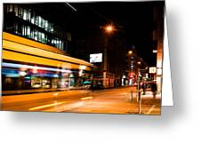 Night Scenery At The Crossroads - Bus Greeting Card