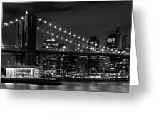 Night-skyline New York City Bw Greeting Card by Melanie Viola