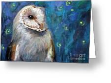 Night Snow Owl Greeting Card