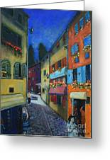 Night Street In Pula Greeting Card