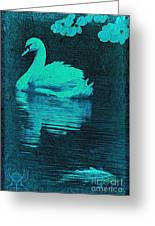 Night Swan L Greeting Card