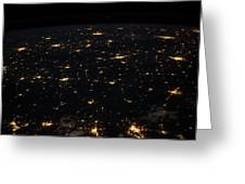 Night Time Satellite Image Of Cities Greeting Card