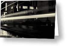 Night Train Black And White Greeting Card