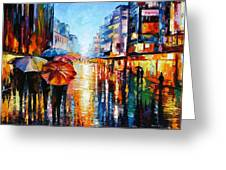 Night Umbrellas - Palette Knife Oil Painting On Canvas By Leonid Afremov Greeting Card