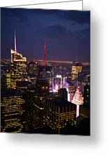 Night View Of New York Greeting Card
