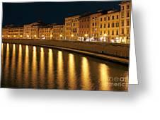 Night View Of River Arno Bank In Pisa Greeting Card