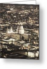 Night View Over St Pauls Greeting Card