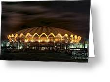 night WVU basketball Coliseum arena in Greeting Card