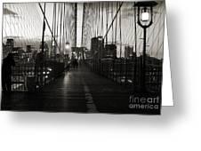 Nightfall On The Brooklyn Bridge Greeting Card