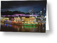 Nightlife At Clarke Quay Singapore Aerial Greeting Card
