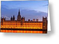 Nightly View London Houses Of Parliament Greeting Card