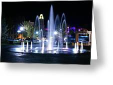 Nighttime At Chico City Plaza Greeting Card