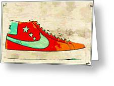 Nike Blazer Orange Greeting Card by Alfie Borg
