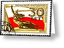 Nike Holding A Sword With The Polish Flag Behind Greeting Card